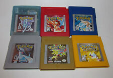 Pokemon Red + Yellow + Blue + Gold + Silver + Crystal Game Boy Color LOT