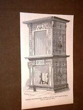 Gravure année 1858 Cheminée style Renaissance installée dans le Musée du Havre