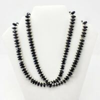 VINTAGE NECKLACE BLACK FAUX PEARL BEADED DOUBLE STRAND COSTUME JEWELRY