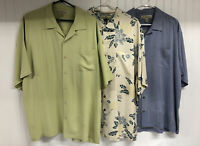 LOT OF 3 MENS TOMMY BAHAMA XL S/S SILK HAWAIIAN ALOHA SHIRTS