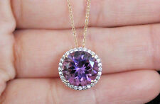 New 10K natural Amethyst & Sapphir Round Halo Pendant Necklace with Chain Purple