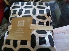 Pottery Barn Teen Peyton black  Sheet Set full   New