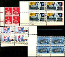1968 -1969 Air Mail Issues Complete Set 4 Plate Blocks MNH Scotts C72 C74 to C76