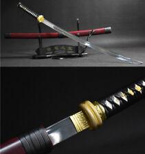 JAPANESE SAMURAI SWORD KATANA 1095 CARBON STEEL FULL TANG  GOLD TSUBA