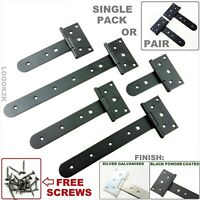 Tee Hinges ROUNDED END  BLACK  Heavy Duty T Strap Hinge Door Gate Shed Barn  RND