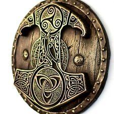 Mjolnir Thors Hammer Norse Decor Viking Shield Pagan Art Wall Bronze Sculpture