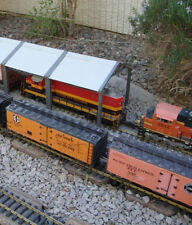 "G-scale 22"" Long 2 Stall Diesel Maintenance Shed Spans 2 Tracks Fits LGB & All"