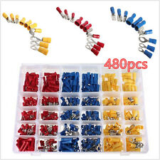480pcs Assorted Insulated Electrical Wire Terminals Crimp Connectors Spade Set