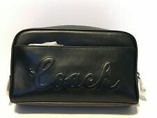 Coach Script Mens Overnight Travel Kit Toiletry Bag - Calf Leather Black F76982