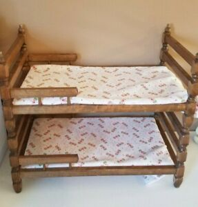 Vintage Wooden Baby Doll Bunk Bed With Handmade Flannel Bed Sheets Doll Bed