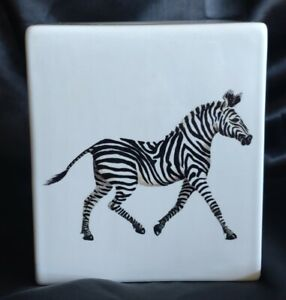 The Present Company Fine Bone China Zebra Tissue Box Cover Made in England RARE