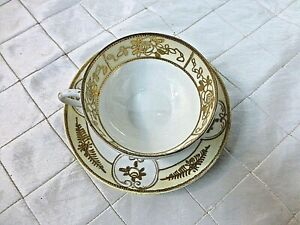 Nippon Handpainted Teacup 1911-1921 Fine China Hand painted Gold Yellow Japan