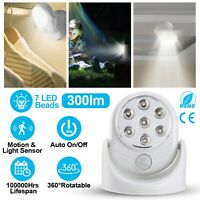 7 LED Adjustable Motion Light Activated Sensor Indoor Outdoor Cordless Battery