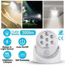 Battery Powered Wireless Motion Detector Auto Sensor Bulb LED Light Lamp 7 LED *