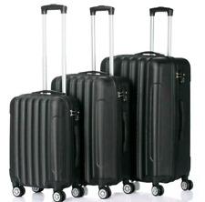 Hardside 3 Piece Nested Spinner Suitcase Luggage Set With TSA Lock Black
