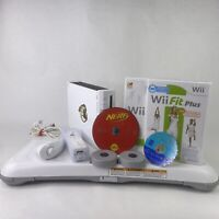 Nintendo Wii RVL-001 White Console System Bundle Wii Fit Balance Board - Tested