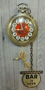 Vintage 60's Spartus Bar Clock Giant Pocket Watch & Fob Have Another Open/Closed