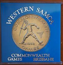 1982 Samoa $1  Tala KM# 50 Specimen BU Coin in Perspex Case Commonwealth Games