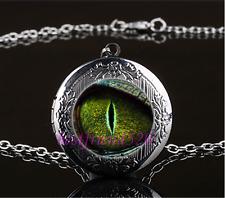Dragon Eye Photo Cabochon Glass Gun Black Locket Pendant Necklace