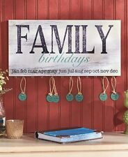 Family Birthday Wall Plaque Reminder Board Sign W/ Name Tags Country Home Decor
