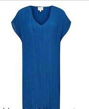 Vestido estilo túnica plisado de cuello en V Oriental, Cobalto -- Talla 12 Reino Unido-Small-BNIP