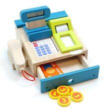 Spielkasse Holz Taschenrechner m. Sound Bonrolle Scanner Geldstücke  Kreditkarte