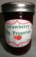 Award Winning Fresh STRAWBERRY FIG PRESERVES, 1/2 Pint (8 oz.) FREE SHIPPING
