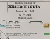 "Vintage 1900 BRITISH INDIA A.D 1751 Map 11""x14"" ~ Old Antique Original HYDERABAD"