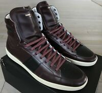 800$ Saint Laurent Maroon Leather High Tops Sneakers size US 11, Made in Italy