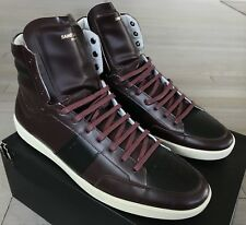 1,000$ Saint Laurent Maroon Leather High Tops Sneakers size US 10, Made in Italy