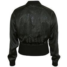 VERSUS by GIANNI VERSACE silk satin rhinestone lion head bomber jacket 38/2 NEW