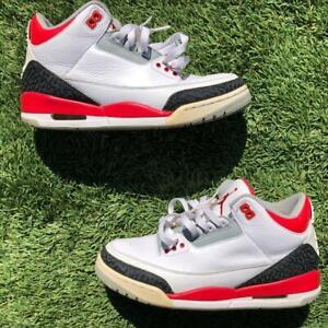 Nike Air Jordan 3 Retro 136064-120 Red Black Cement Gray Basketball Shoes 8.5