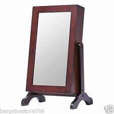 Table Top Jewellery Cabinet with Mirror Brown Storage Keep Safe Tidy Cupboard