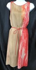 Reed Krakoff Dress Beige Brown And Coral Silk Leather Trim Wrap Waste Tie Size 8