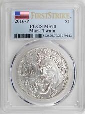 2016-P Mark Twain Uncirculated Silver Dollar PCGS MS70 First Strike Mint State