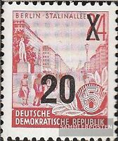 DDR 439b, Neuauflage der Offsetdruck-Urmarke mit Aufdruck postfrisch 1954 Fünfja