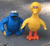"Vintage 5"" Big Bird Cookie Monster PVC Figure 1985 Tara Toy Sesame Street Muppet"