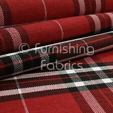 Red Modern Tartan Checked Pattern Chenille Upholstery & Curtains Fabric