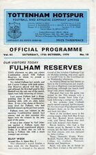 Fulham Football Reserve Fixture Programmes (1970s)