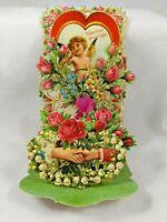 Vintage Pull Down Die Cut Valentine Card Cherub Holding Hands Rose Honeycomb