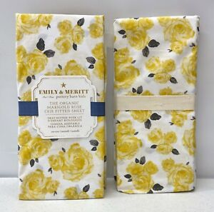 2 NEW Pottery Barn KIDS Emily & Meritt Organic Marigold Rose Fitted Crib Sheets