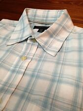 Banana Republic Button Down Shirt Linen/Cotton Blend White w/ Teal Plaid Size M