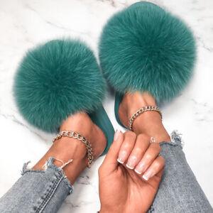 Women's Shoes Real Farm Fox Fur Slides Plush Slippers Flat Flip Flops Furry Cute