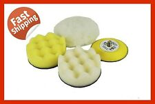 "4 pcs VEL CRO FOAM AND WOOL BUFFING KIT 3"" SAND POLISH PAD AUTO DENT PANEL SPRAY"