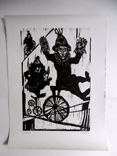 MOREH Mordecai Gravure originale Handsigned Etching Israël Cirque Clown