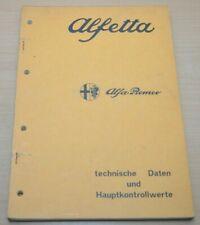 Alfa Romeo Alfetta Vergaser Kupplung Technische Daten Werkstatthandbuch 7/1972