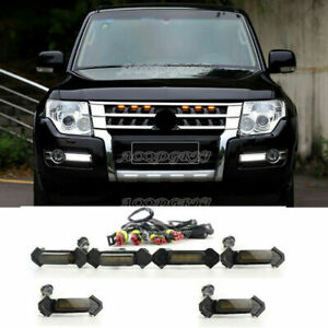 For Mitsubishi Pajero V97 93 Front Grille LED Light Raptor Style Grill Cover Kit