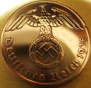 German 1 Reichspfennig 1938-Coin III Reich-WWII-SWASTIKA-Antique-Vintage-RARITY