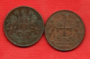 2 INDIAN QUARTER ANNA COPPER COINS FROM THE EAST INDIA COMPANY. 1835 & 1858.