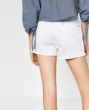 ZARA Distressed denim shorts with studs. Ripped details side openings SZ US6